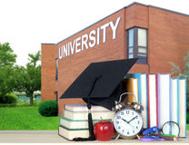 Book and university. Books and university for an education concept royalty free stock photo