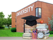 Book and university. Books and university for an education concept stock images