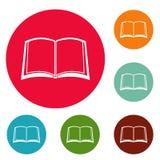 Book university icons circle set vector. Isolated on white background Stock Photos
