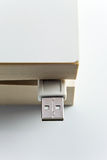 Book with USB plug Royalty Free Stock Photography