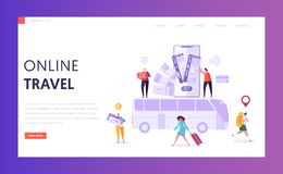 Book Vacation Bus Ticket Landing Page. Holiday Trip Online Card Pay Technology. Woman Character Buy Digital Voyage. On Smartphone Website Concept or Web Page stock illustration