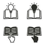 Book icon set. Book vector icons set. Black illustration isolated for graphic and web design Stock Image