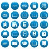 Book vector icons set blue, simple style. Book icons set blue. Simple illustration of 25 book vector icons for web Royalty Free Stock Photos