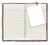 Book vintage and Memo notes with paper clip background Stock Images
