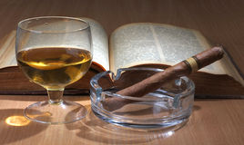 Book and whiskey Stock Image