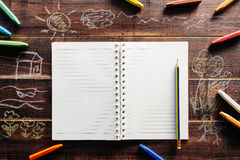 Book white paper on the table brown wood. Royalty Free Stock Image