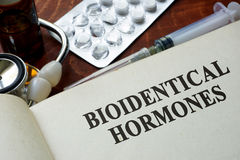 Free Book With Words Bioidentical Hormones. Royalty Free Stock Image - 79584416