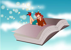 Book and woman stock illustration