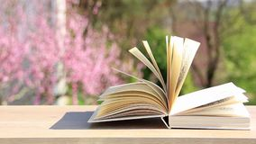 Book on wooden table. In the open air stock video