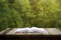 Book on a wooden table. Opened book on a wooden garden table, green nature background Stock Images