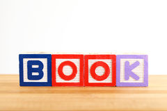 BOOK wooden toy block Stock Image