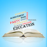 Book with word collage. Education Stock Image