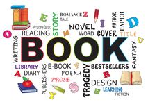 Book word concept. Illustration of book word concept with icons Stock Photo