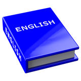 Book with word english  isolated on white background. Blue book with word english  isolated on white background. 3D render Royalty Free Stock Image