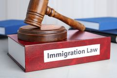 Book with words IMMIGRATION LAW and gavel royalty free stock photo