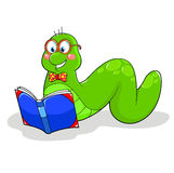 Book worm. Smiling cartoon bookworm reading a book Royalty Free Stock Photography