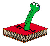 Book worm. A funny looking worm coming out from a hole of a book Royalty Free Stock Photos