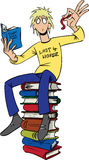 Book worm. Boy sits on a pile of books and see the meaning of book worm Royalty Free Stock Photo