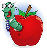Book Worm In An Apple. A book worm hanging out in his home, a big red juicy apple Royalty Free Stock Photography