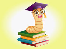 Book worm on books Royalty Free Stock Photos