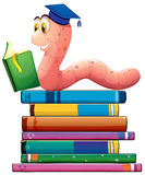Book and worm Stock Photos