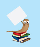 Book worm with sign Royalty Free Stock Photo
