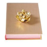 Book wrapped in gold with bow Royalty Free Stock Photos