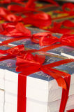 Book wrapped in red ribbon Royalty Free Stock Photography