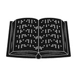 Book written in braille icon in black style isolated on white background. Royalty Free Stock Images