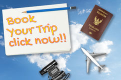 Book your trip click now travel agency banner Stock Photography