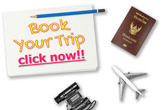 Book your trip click now travel agency banner on white Royalty Free Stock Images