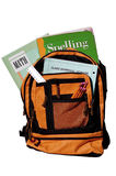 Bookbag. Full of books and other supplies for school Royalty Free Stock Photography
