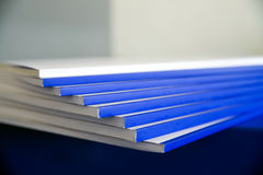 Bookbinding. Details of books that are being bound in Italian industry Stock Photos