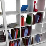 Bookcase. 3d bookcase with instruments for office Stock Photography