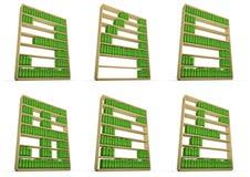 Bookcase alphabet. 3D render of books on shelves forming alphabet Stock Photos