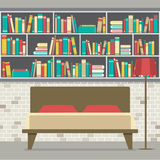 Bookcase In The Bedroom Flat Design Stock Images