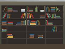 Cartoon Bookcase Background. Library Illustration Royalty Free Stock Photo