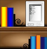 Bookcase with books and ebook Stock Image