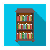 Bookcase with books icon in flat style  on white background. Library and bookstore symbol stock vector Royalty Free Stock Photography