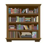 Bookcase with books and records Stock Photography