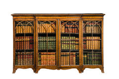 Bookcase cabinet antique vintage with glass doors isolated on wh Royalty Free Stock Photo