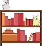 Bookcase with Cats. Two shelf bookcase filled with books with two cats sitting on top vector illustration