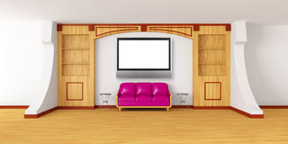 Bookcase with couch, tables and  and lcd tv Stock Image