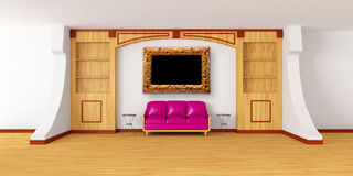 Bookcase with couch, tables and picture frame Stock Photos