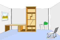 Bookcase and desk 3d in empty room vector illustration Stock Images