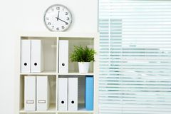 Bookcase with documents. Image of board with documents and green plant in office Stock Photography