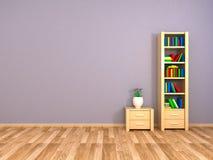 Bookcase i nightstand przy ścianą Zdjęcie Stock