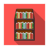 Bookcase icon in flat style isolated on white background. Library and bookstore symbol stock vector illustration. Bookcase icon in flat design isolated on white Stock Photos