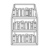 Bookcase icon in outline style isolated on white background. Library and bookstore symbol stock vector illustration. Royalty Free Stock Images