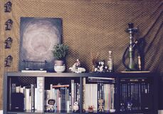 Bookcase inside home Royalty Free Stock Images